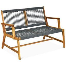 Topbuy 2-Person Outdoor Acacia Wood Bench Patio Loveseat Rope Bench Grey | Walmart (US)
