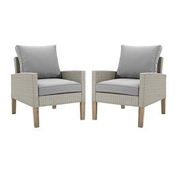 Manor Park Modern Outdoor Patio Eucalyptus and Rattan Chairs, Set of 2 | Walmart (US)