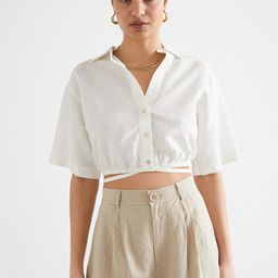 Buttoned Tie Detail Crop Top | & Other Stories