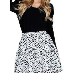 Relipop Women's Floral Flared Short Skirt Polka Dot Pleated Mini Skater Skirt with Drawstring   Amazon (US)