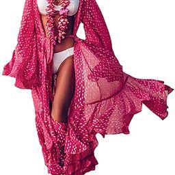 Bsubseach Womens Chiffon/Rayon Beach Blouses Kimono Cardigan Long Bikini Cover Up   Amazon (US)