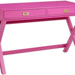 "Linon PG138RSP01U Linon Home Decor Peggy Raspberry Pink Writing Desk Desk, Raspberry Pink, 44""W x... | Amazon (US)"