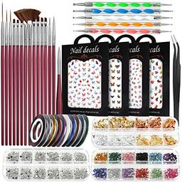 Nail Art Brushes Kit, Teenitor Nail Art Supplies with Nail Dotting Tools, 3D Butterfly Nail Art S... | Amazon (US)