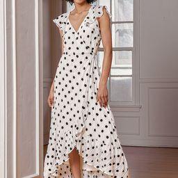 Behold the Beauty Cream Polka Dot Flutter Sleeve Maxi Wrap Dress   Lulus (US)