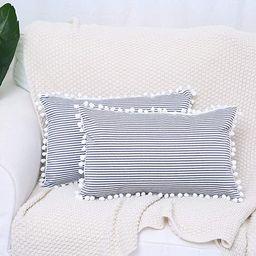 Kiuree Farmhouse Lumbar Pillow Coverswith Pom Poms Set of 2 Black and WhiteOutdoor Striped De... | Amazon (US)