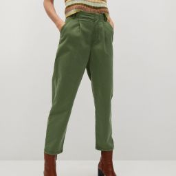 Cotton pleated pants | MANGO (US)