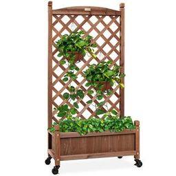 Wood Planter Box & Lattice Trellis w/ Drainage, Optional Wheels - 60in   Best Choice Products