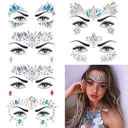 6 Sets Women Mermaid Face Gems Glitter,Rhinestone Rave Festival Face Jewels,Crystals Face Sticker... | Amazon (US)