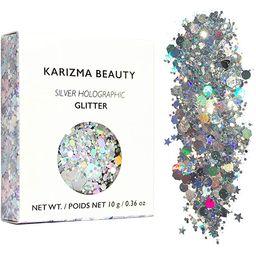 Silver Holographic Chunky Glitter ✮ KARIZMA Beauty ✮ 10g Festival Glitter Cosmetic Face Body ... | Amazon (US)