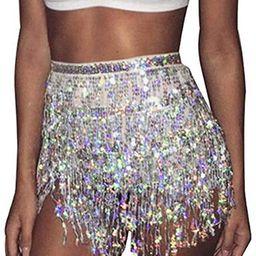 Zoestar Boho Sequin Tassel Hip Scarf Multiplayer Belly Dance Belt Dance Performance Skirt for Wom... | Amazon (US)