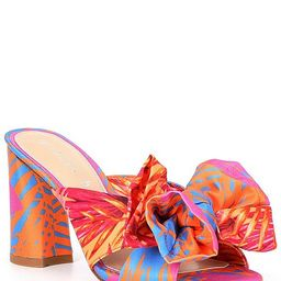 Keily Printed Bow Detail Block Heel Dress Mules | Dillards