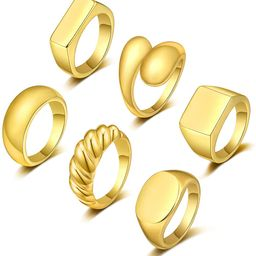FUNEIA 6Pcs Thick Dome Chunky Rings for Women Men 18K Gold Plated Round Signet Rings Braided Twis...   Amazon (US)