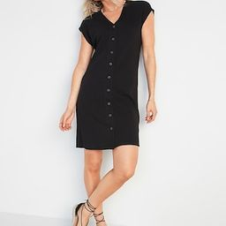 Rib-Knit Button-Front Shift Dress for Women | Old Navy (US)
