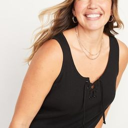 Rib-Knit Lace-Up Swing Tank Top for Women   Old Navy (US)