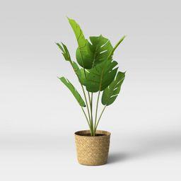 Faux Monstera in Basket Pot Brown/Green - Opalhouse   Target