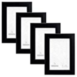 Malden International Designs Wide Basic Picture Frame, 4x6, Black, 4 Pack   Amazon (US)