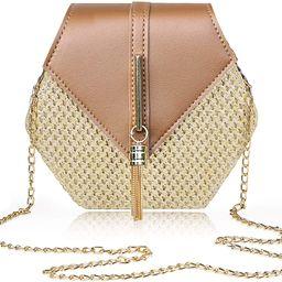 Straw Bags for Women Natural Chic Handmade Woven Clutch Purse Handbag Hexagon Round Boho Bag Bali... | Amazon (US)