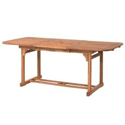 Manor Park Wood Outdoor Patio Extendable Dining Table, Brown | Walmart (US)