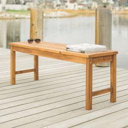 Manor Park Solid Wood Outdoor Patio Bench, Brown | Walmart (US)