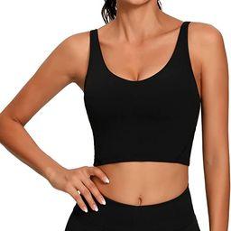Lemedy Women Sports Bra Longline Crop Tank Top Padded Workout Running Yoga | Amazon (US)