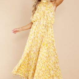 Bringing The Sunshine Yellow Floral Print Jumpsuit   Red Dress