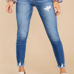 Going Forward Medium Wash Distressed Skinny Jeans   Red Dress