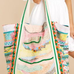 Lost In Dunes Green Multi Beaded Knit Bag   Red Dress