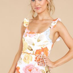 Seaside Darling White Floral Print One Piece Swimsuit   Red Dress
