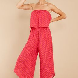 Hold On Forever Fuchsia Pink And Red Print Jumpsuit   Red Dress