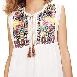Floerns Women's Ruffle Striped Mexican Embroidered Babydoll Blouse Top   Amazon (US)