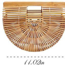 Samuel Bamboo Bags for Women Summer Straw Wooden Beach Purse Handmade Basket Handle Handbags | Amazon (US)