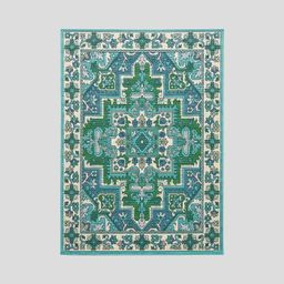 Houston Oriental Outdoor Rug Ivory/Blue - Christopher Knight Home | Target