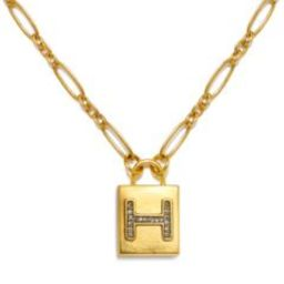 """""""H"""" Padlock Initial Necklace 