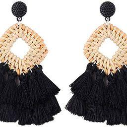 Sunmoon Bohemian Rattan Tassel Earrings for Women Lightweight Boho Jewelry Handmade Weaving Geome... | Amazon (US)
