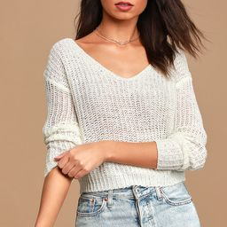 Born to Fly White Loose Knit Reversible Sweater   Lulus (US)