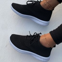 Lace Up Decor Knit Sneakers | SHEIN