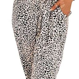 PRETTYGARDEN Women's Sexy Wrap V Neck Leopard Print Spaghetti Strap Long Pants Jumpsuits Romper... | Amazon (US)