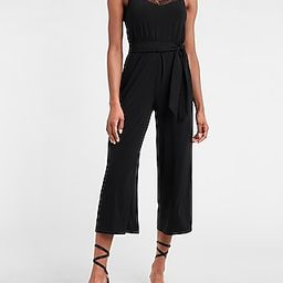 Lace Trim Belted Jumpsuit | Express