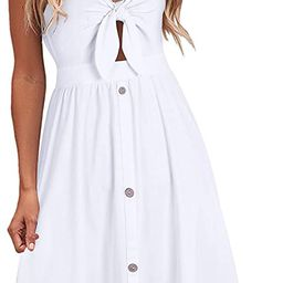 VOTEPRETTY Womens Summer Floral Sundress V Neck Tie Front Spaghetti Strap Dresses with Pockets   Amazon (US)