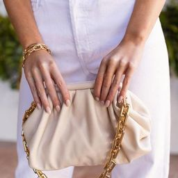 No Problems Beige Gold Chain Clamshell Purse | Shop Priceless