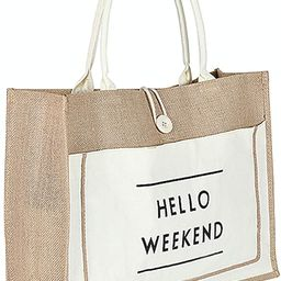 JOLLQUE Jute Beach Tote for Women, Reusable Grocery Shopping Bag with Handle. | Amazon (US)