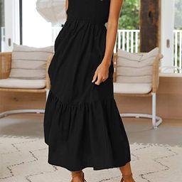 ZESICA Women's Summer Bohemian Floral Printed Strapless Beach Party Long Maxi Dress | Amazon (US)