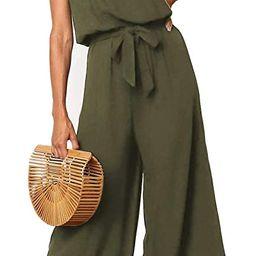 ZESICA Women's Casual Off Shoulder Solid Color Strapless Belted Wide Leg Jumpsuit Romper | Amazon (US)