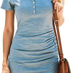 BTFBM Women's 2021 Casual V Neck Short Sleeve Ruched Bodycon T Shirt Short Mini Dresses with Bu... | Amazon (US)