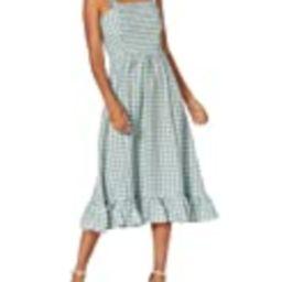 Sugar Lips Women's Gingham Print Ruffle Detail Smocked MIDI Dress, SAGE, LARGE   Amazon (US)