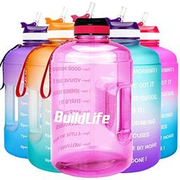 BuildLife Gallon Motivational Water Bottle Wide Mouth with Straw & Time Marked to Drink More Dail... | Amazon (US)