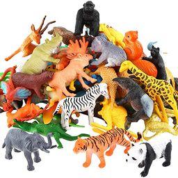 Animals Figure,54 Piece Mini Jungle Animals Toys Set,ValeforToy Realistic Wild Vinyl Plastic Anim... | Amazon (US)