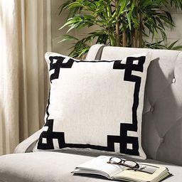 Safavieh Home Renti Natural and Black Greek Key 20-inch Decorative Pillow Pillow | Amazon (US)