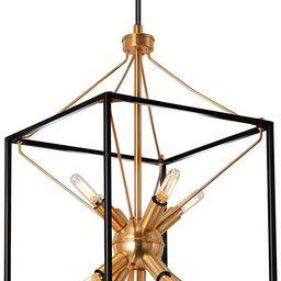9-Light Chandelier, Adjustable Height Lantern Pendant Light with Black and Brass Finish, Metal Li... | Amazon (US)