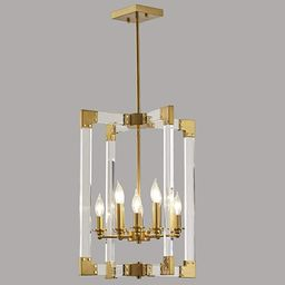 Hanging Pendant Light Fixture-8 Light Rectangle Clear Brass Modern Chandelier for Dining Room, Be... | Amazon (US)